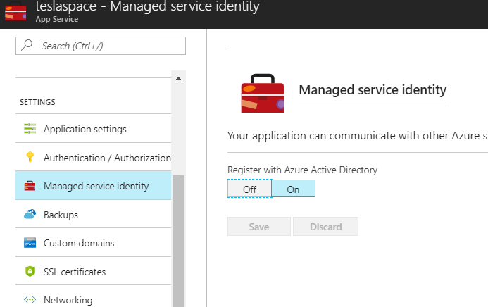 enable MSI in azure web apps